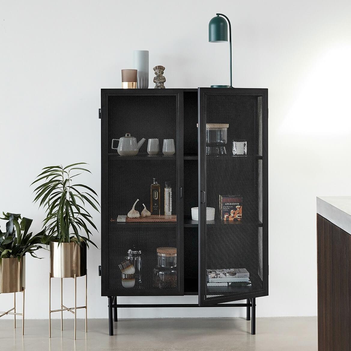 hubsch-black-metal-cabinet-with-wire-mesh-doors